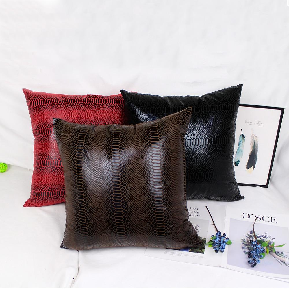 Fashion Snake Suede Thin Pure Solid Red Decorative Pillowcase Chair Cushion For Car Sofa Home Decor 45x45cm 40 50 60 Custom