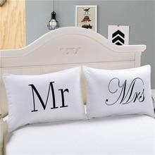 MR MRS декоративная белая пара Подушка Чехол s влюбленных подарок одна пара подушки Постельное белье постельные принадлежности на выходе