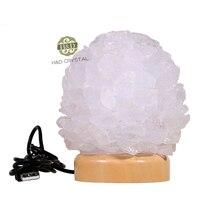 4 USB LED Lava Lamp White Rock Crystal Quartz Wooden Base Night Sleeping Lights Lamp Emergency