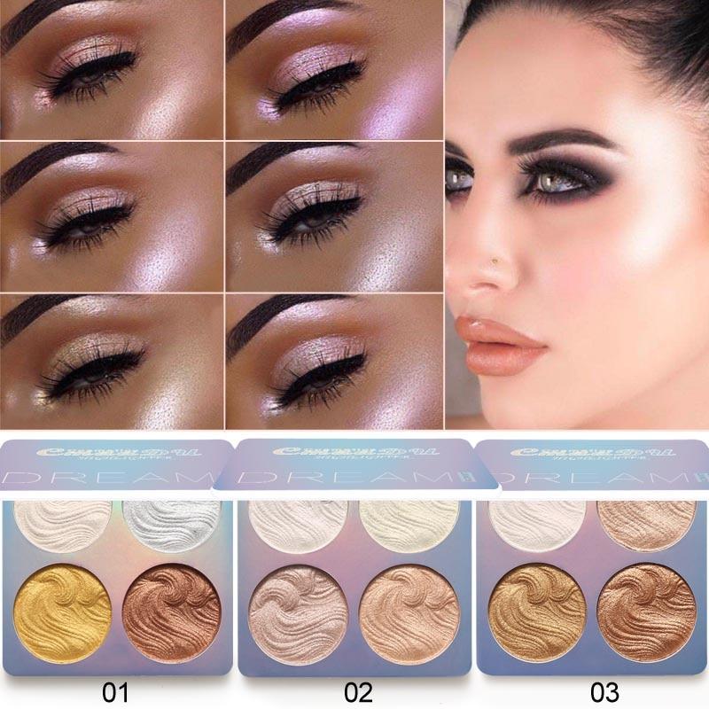 Cmaadu Glow Kit 4 Color Baked Highlighter Palette Shimmer Illuminator Contouring Brighten 3D Face Powder Makeup Bronzer 3