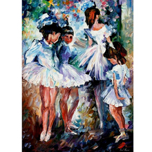 Hand Painted Landscape Abstract Young Ballerinas Knife Modern Oil Painting Canvas Art Living Room hallway Artwork Fine Art