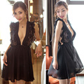 Princess Nightgown Silk Nightdress Lace Fashion Black Satin Silk Lingerie Deep V Nightwear