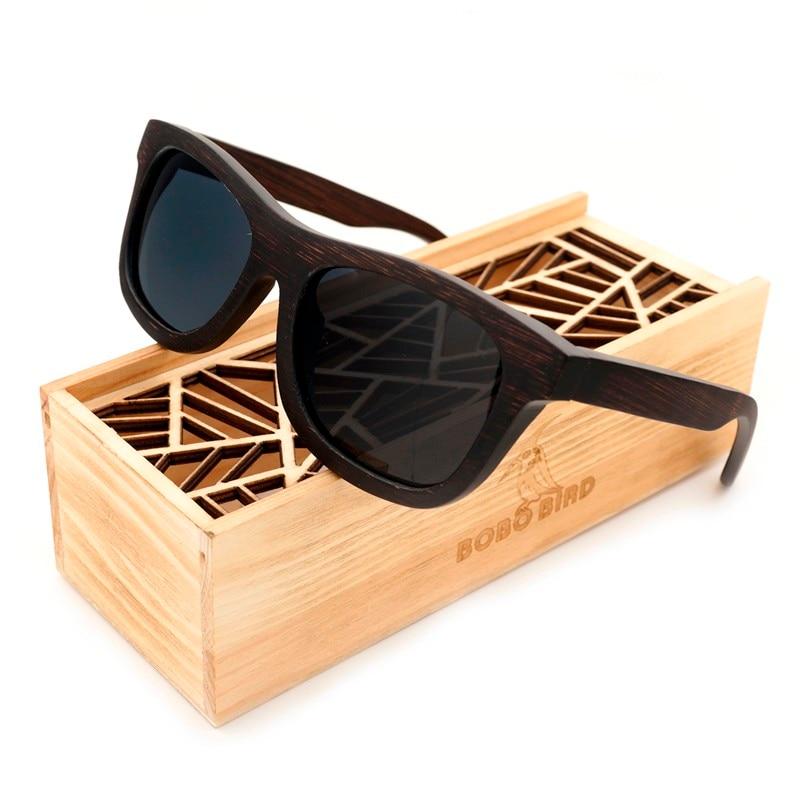 100% Óculos De Sol De Madeira de Ébano Natural Quadrado de Design da Marca  de Luxo Polarizada Óculos de Sol dos homens Com Caixa De Presente De Madeira 6021971647