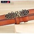 Refinamiento SALUTTO Decoración Fina Estrecho Cinturón de Diseñador de Ocio de Alta Calidad de Cuero Genuino Ceinture Femme Cinturon de Lujo