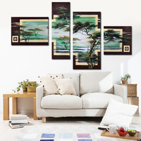 100% Hand Painted Acrylic Abstract Modern Landscape Oil Paintings On Canvas 4 Panel Luxury Artwork Wall Art Decoration Pictures
