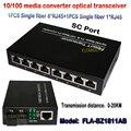 10/100 M única fibra monomodo conversor de mídia 1 pcs 1 sc óptica 1RJ45 porta 8 porta RJ45 + 1 pcs 1 fibra transceptor de fibra óptica