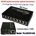 10/100 M sola fibra monomodo media converter 1 unids 1 sc óptica 1RJ45 puerto 8 puerto RJ45 + 1 unids 1 fibra transceptor de fibra óptica