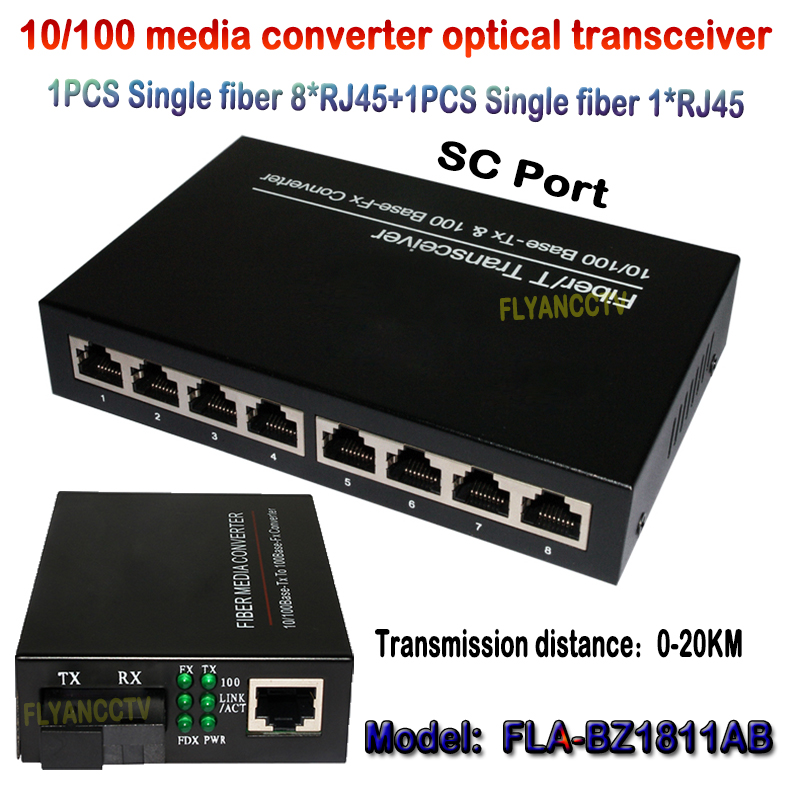 10/100M single fiber single mode media converter 1pcs 1 sc optical port 8 RJ45 port +1pcs 1 fiber 1RJ45 fiber optic transceiver new single fiber single mode optical transceiver 10 100m 1000mbps sc port 20km 2ch fiber 8ch rj45 fiber optical media converter