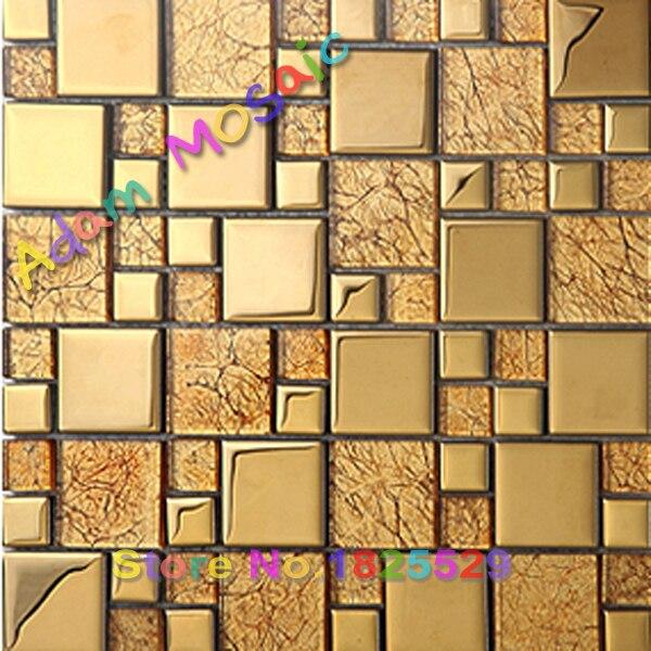 oro de cobre ladrillo de vidrio barra backsplash del azulejo de mosaico para cocina