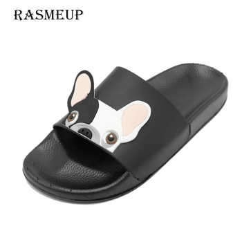 RASMEUP Leather Women's Slippers 2018 Summer Women Open Toe Beach Slippers Bulldog Seaside Shoes Indoor Home Casual Woman Slides - DISCOUNT ITEM  38% OFF All Category