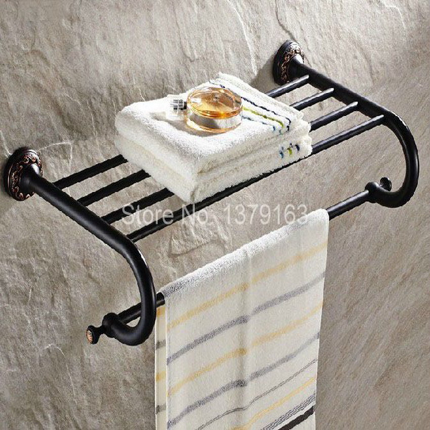 Bathroom Accessory Black Oil Rubbed Brass Wall Mounted Bathroom Towel Rail Holder Storage Rack Shelf Bar aba463