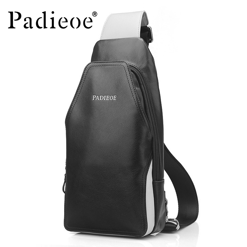 Padieoe Men Messenger Bag Genuine Leather Chest Bag Cowhide Men Crossbody Shoulder Bags