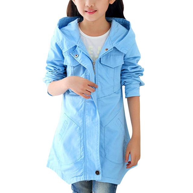 Kids Clothing Fashion Design Jacket for Girls Long Sleeve Solid Color Windbreaker Casual Hooded Outerwear Zipper Casacos 2 Color