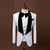 Latest Coat Pant Designs Shawl Lapel Groom Tuxedos Black/White/Red/Blue Men Suits Wedding Best Man Blazer (Jacket+Pants+Vest)