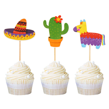 24Pcs Mexican Fiesta Theme Party Cupcake Toppers Hat Cactus Alpaca Baby Shower Birthday Cake Decoration