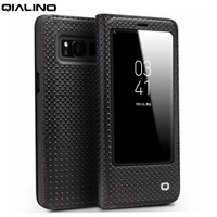 QIALINO Elegant Smart Case For Samsung Galaxy S8 Plus S8 Grid Texture Genuine Leather Stand Smart