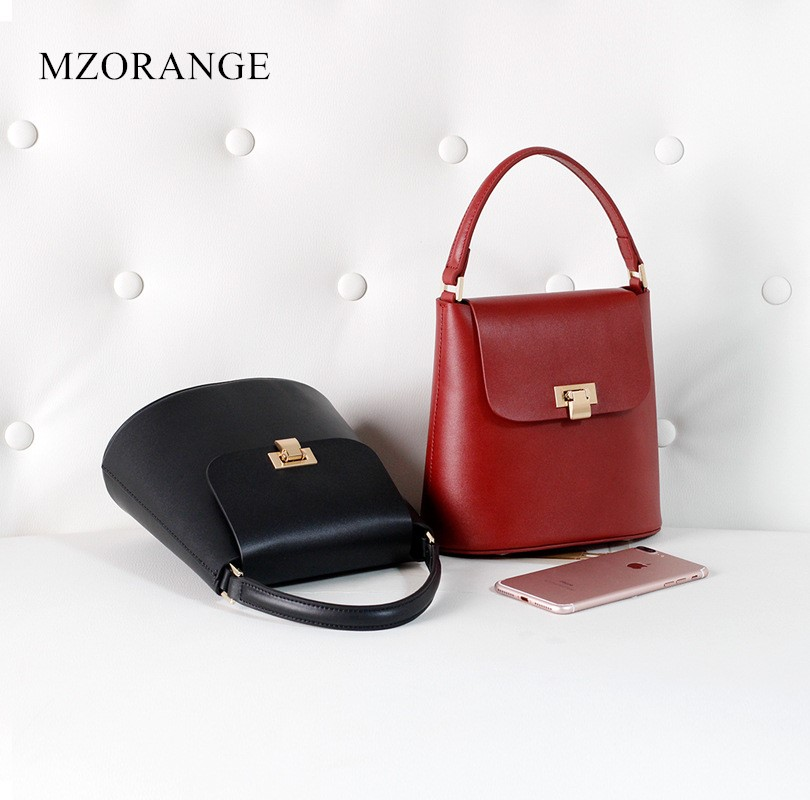 MZORANGE Genuine Leather Handbag Fashion Casual Tote Women's Bag 2018 Vintage Design Ladies Bucket bag Shoulder Crossbody Bags 2018 new style genuine leather woman handbag vintage metal ring cloe shoulder bag ladies casual tote fashion chain crossbody bag