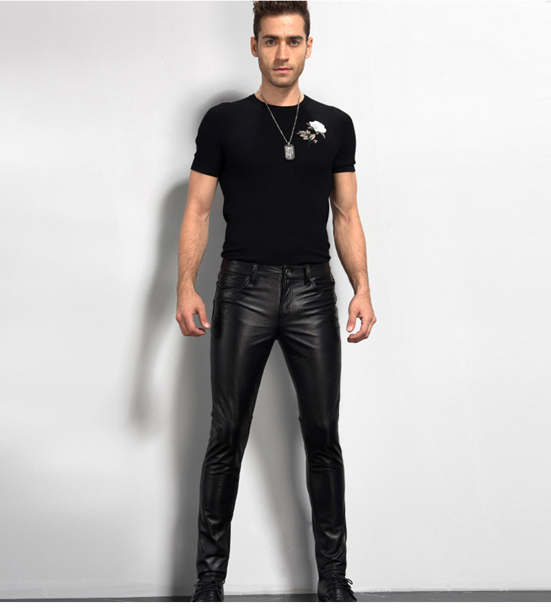 Men's Leather Pant Biker Pants Motorcycle Punk Rock Pants Tight Gothic Leather Pants  Slick Smooth Shiny Trousers Sexiest TJ01 21