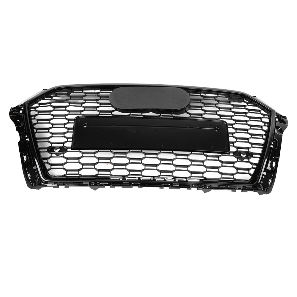 Front Sport Hex Mesh Honeycomb Hood Grill Gloss Black for Audi RS3 A3 S3 8V 2017