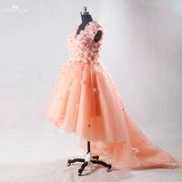 Rse706 персик цветочные Выпускные платья Пышное короткое платье; с длинным шлейфом