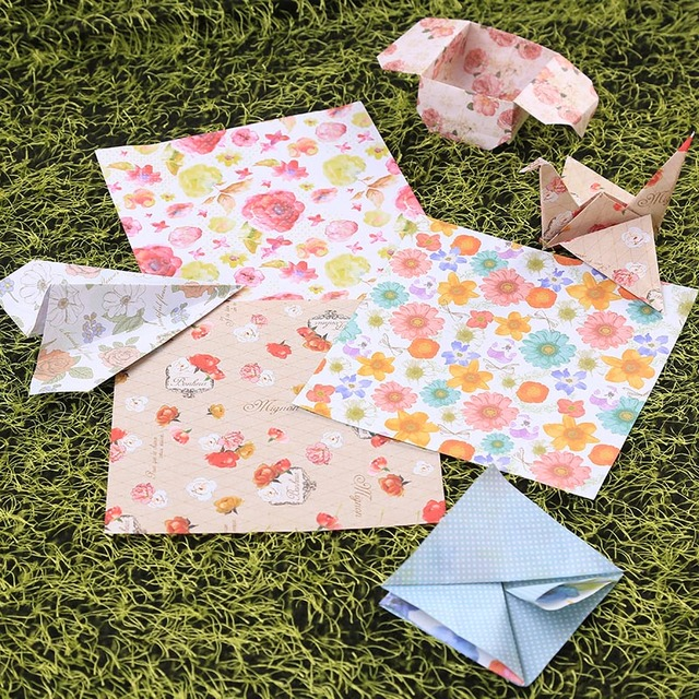 60Pcs Beauty Floral Square Origami Folding Japanese Lucky Wish Paper 6 Colors 15*15cm Crane Chiyogami