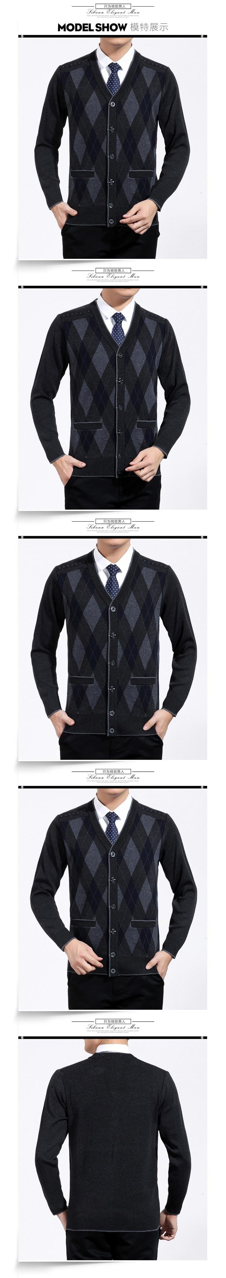 Man Woollen Cashmere Cardigan Sweaters Textured Knitted Sweater Men V-neck Cardigan Elegance Knitwear Business Casual Wear (7)