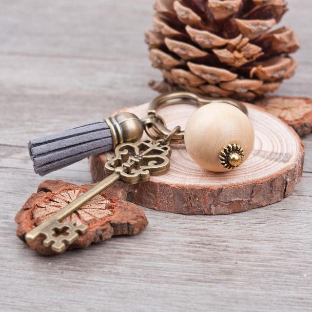 Doreen Box Antique Bronze heart Key Chains&Key Rings Vintage Big Wood round beads Key Pendant Tassel Pendants Handmade Keychain