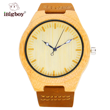 IBigboy De Bambú Natural De Madera Del Reloj de Los Hombres Reloj de Cuarzo de Pulsera de Cuero de Mujer de Marca Relojes de pulsera Para Hombres Relogio Masculino de Alta Calidad