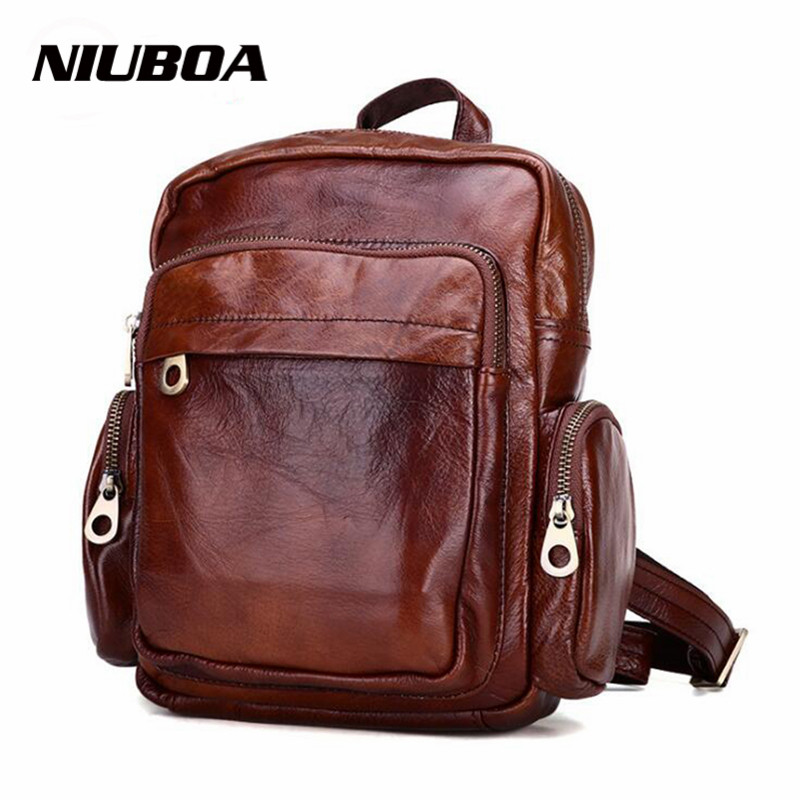 NIUBOA Woman Genuine Leather Backpack New Female Bags Vintage Small Natural Leather Shoulder Bag Vintage Luxury School Bag Pack military star wars spaceship aircraft carrier helicopter tank war diy building blocks sets educational kids toys gifts legolieds