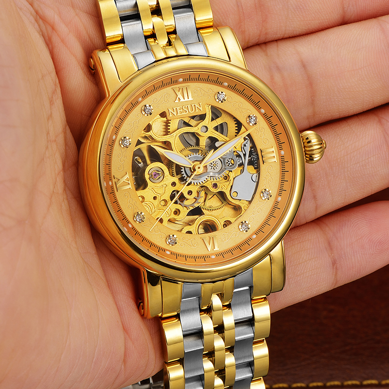 NESUN New Men Business Self-Wind Hollow Automatic Mechanical Wristwatches Luxury Waterproof Watches Male Clock Relogio Masculino все цены