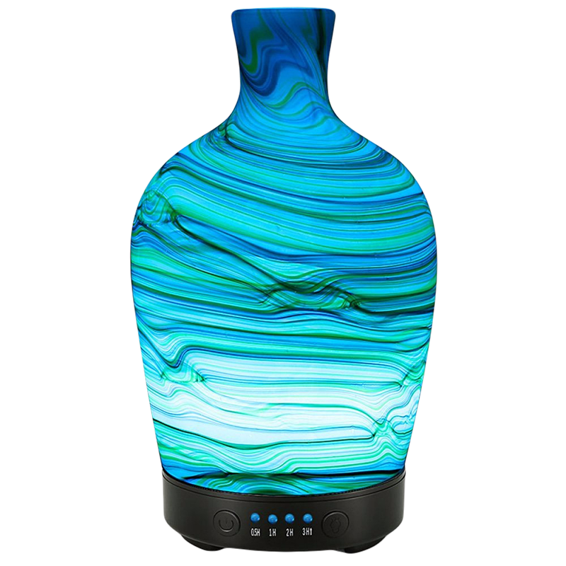 100ML Ripple Pattern Glass Cover Air Humidifier Electric Aroma Essential Oil Diffuser With Colorful Romantic LED Light