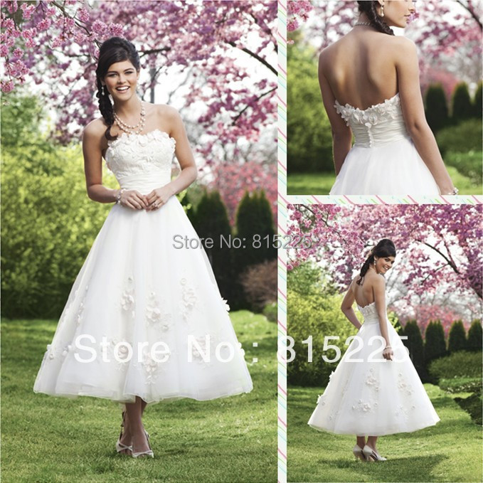 Elegant charming low price a line tea length mid calf for Calf length wedding dresses