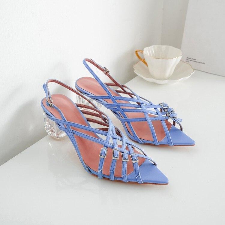 MLJUESE 2019 femmes sandales en cuir verni couleur pourpre découpes croisées bout ouvert talons hauts plages sandales robe de soirée-in Sandales femme from Chaussures    1