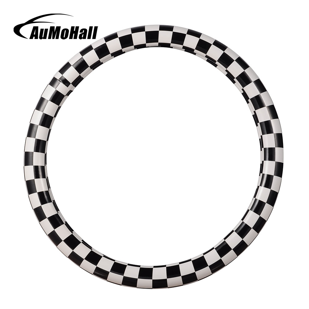 AuMoHall Black And White Plaid PU Leather Auto Truck Skidproof Car Steering Wheel Cover Size S M 36cm 38cm