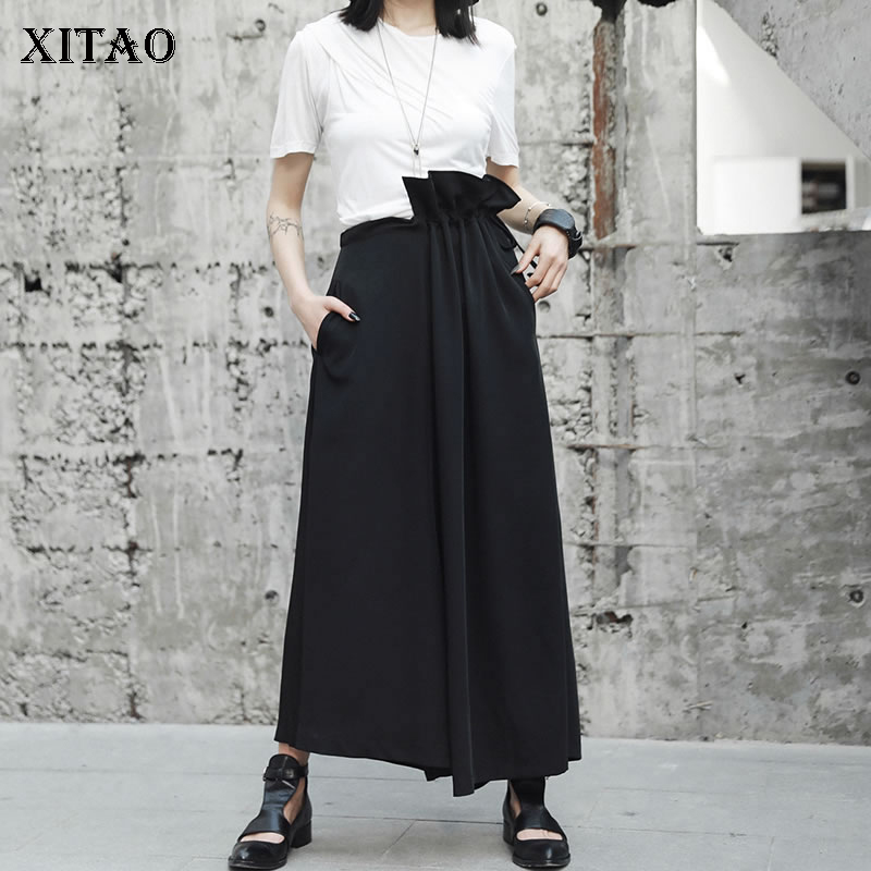 [XITAO] 2018 Summer Hong Kong Fashion New Women Elastic Waist Wide Leg Pants Female Solid Color Loose Ruffles Pants KZH396 new summer japanese sen female line all match foundation elastic waist denim jeans wide leg pants
