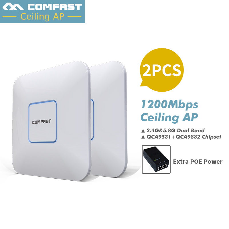 2pcs Hot Selling~ Comfast 1200Mbps Wifi Access Points Celling AP,Wall dual band Indoor Wireless WiFi Router Repeater nano bridge tenda ac6 wireless wifi router 1200mbps 11ac dual band wifi repeater 802 11ac wps wds app control pppoe l2tp eu us ru firmware