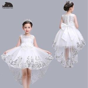 Image 2 - Menina vestido de verão branco princesa 3 14 anos menina vestido de festa robe fille crianças marca vestidos formatura