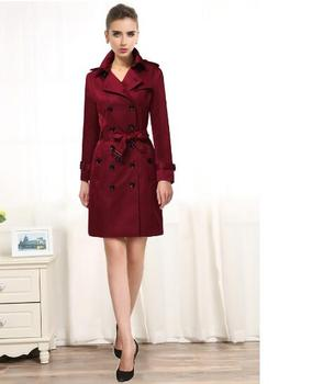 2020 spring long coats autumn wine red england double-breasted trench coat for women windbreaker female trench coats plus size