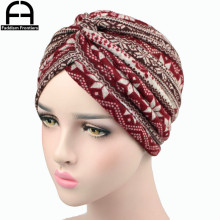 Fashion Women Knit Turban Super Quality Print Chemo Headwear Headband Hat Muslim Hair Accessories Cover