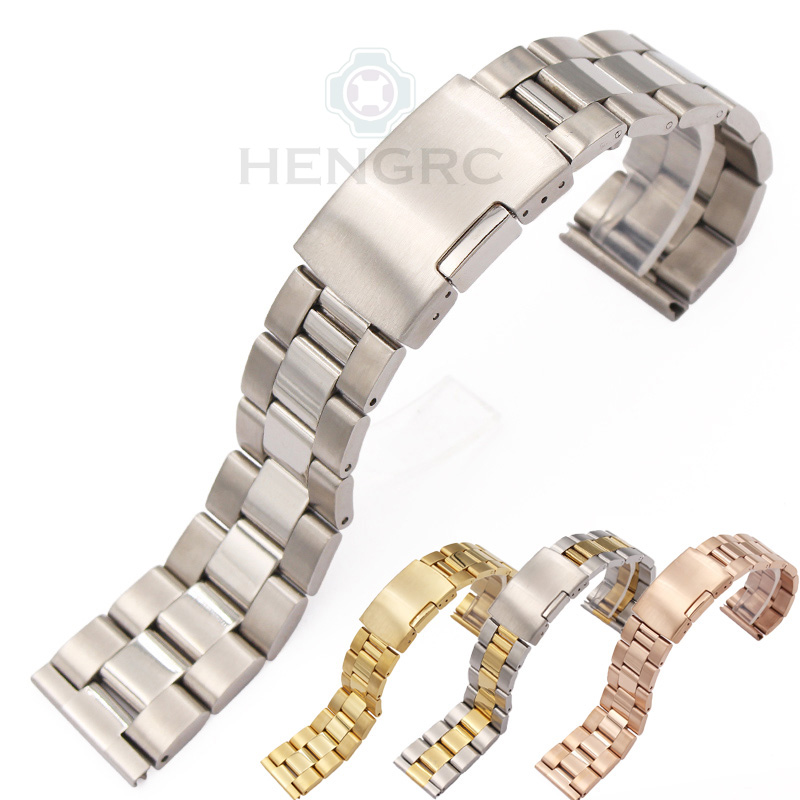 Solid Stainless Steel Watch Band Bracelet Straight End Strap 18mm 20mm 22mm 24mm Gold Silver Black Watchband Accessories watch band strap stainless steel 20mm 22mm men women straight end bracelet silver rose gold watchband clasp accessories