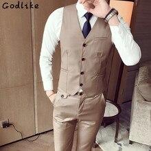 GODLIKE(Only Vest) Fashion Men's Office Formal Business best man Suit Vest male Wedding  Prom Party Waistcoat Custom Suits Groom