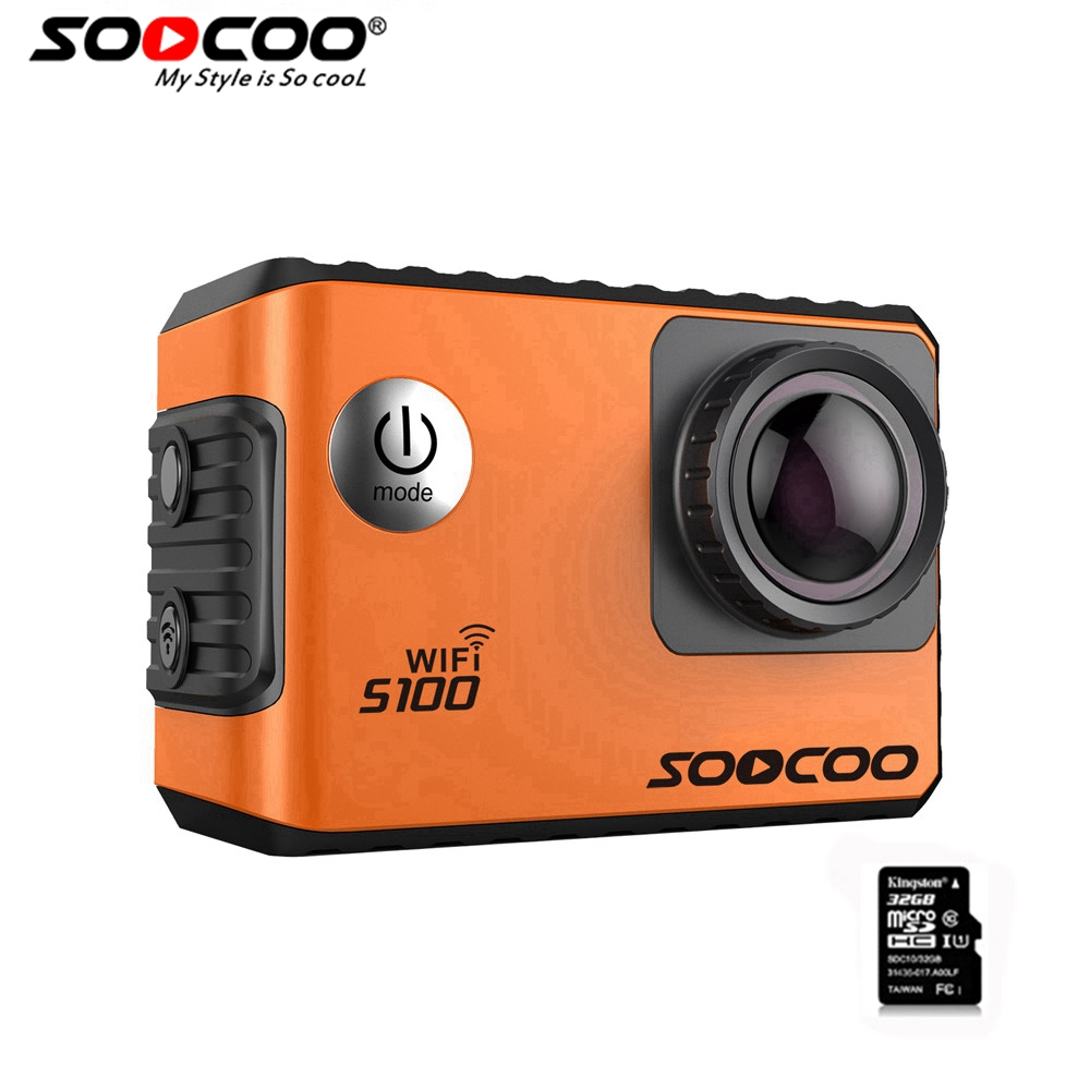 SOOCOO S100 Wifi 4K FULL HD Sports Camera & 32GB card  Built-in Gyro with GPS Extension(GPS Model not include) Action Camera 2008 donruss sports legends 114 hope solo women s soccer cards rookie card