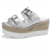 LANMRem 2017 Spring Summer New Pattern Beach Shoes Crystal Cool Slipper Rhinestone Platform High Heels Slope