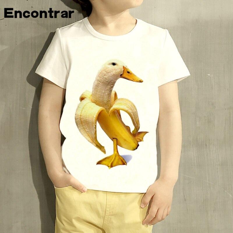Kids Yellow Banana Ducks Design TShirt Boys/Girls Great Casual Short Sleeve Tops Children Cute T-Shirt,HKP2217