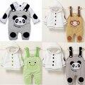 Estilo de varejo 2017 Outono roupas Infantis conjuntos de Roupas Bonito Panda 2 pcs (Plena Manga + Calça) roupa Do Bebê frete Grátis