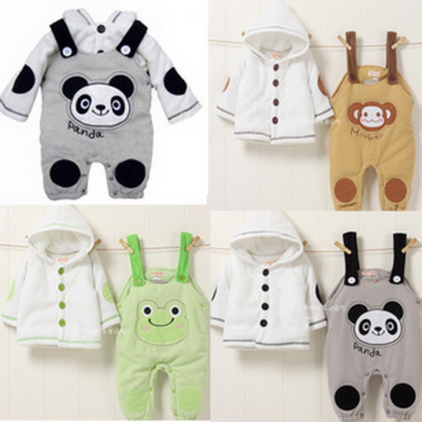 Retail 2017 Autumn style Infant clothes Clothing sets Cute Panda 2pcs(Full Sleeve + Pants) Baby clothes Free Shipping