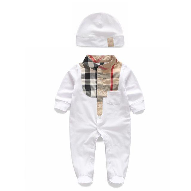 Bebé ropa de niño NUEVO 2016 verano plaids mameluco Y sombrero ropa de bebé recién nacido ropa infantil del niño del bebé del mameluco 0-24 meses