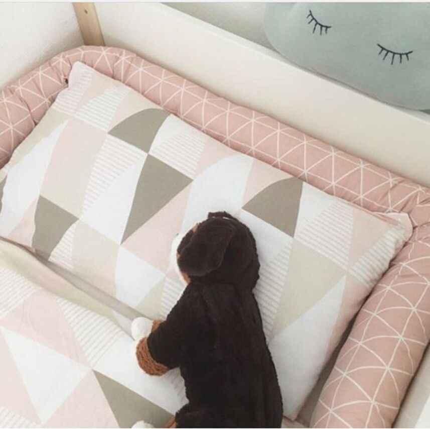 الشمال الوليد سرير بيبي الوفير 2 متر طويلة سحابة طباعة جديلة وسادة سرير الطفل مصدات عقدة الرضع صبي فتاة غرفة الطفل ديكور المفارش