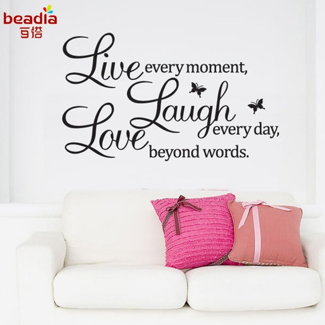 Xcm English Word Live Laugh Love Quote Decal Removable Art Wall Stickers Home Decor