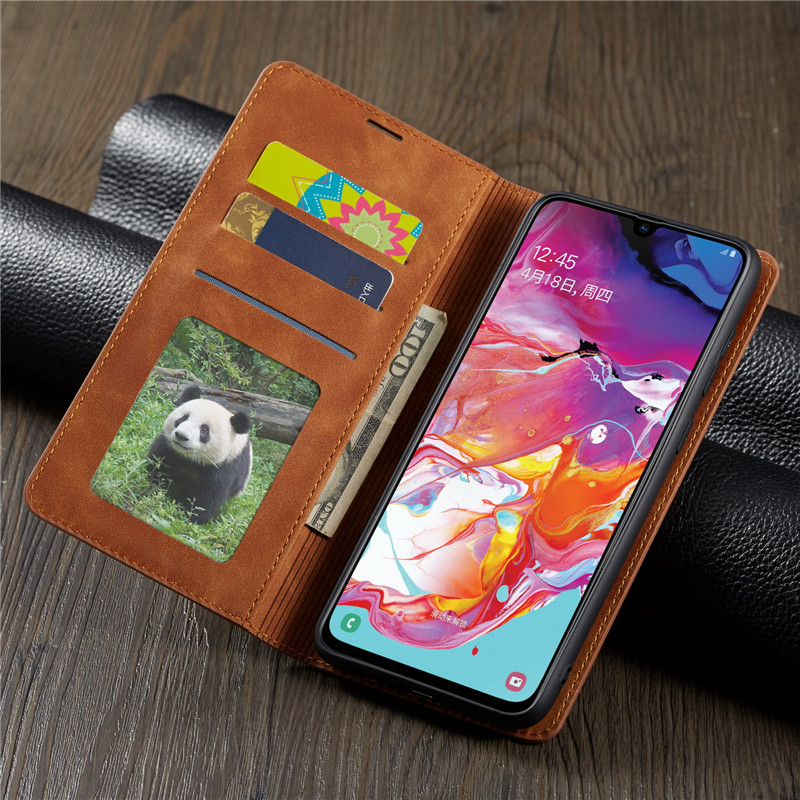 HTB1hGTfa8iE3KVjSZFMq6zQhVXas Luxury Leather A50 A51 A71 Case For Samsung Galaxy A70 A51 A40 A30 A20 A20E A10 M10 Strong Magnetic Wallet Flip Card Slots Cover